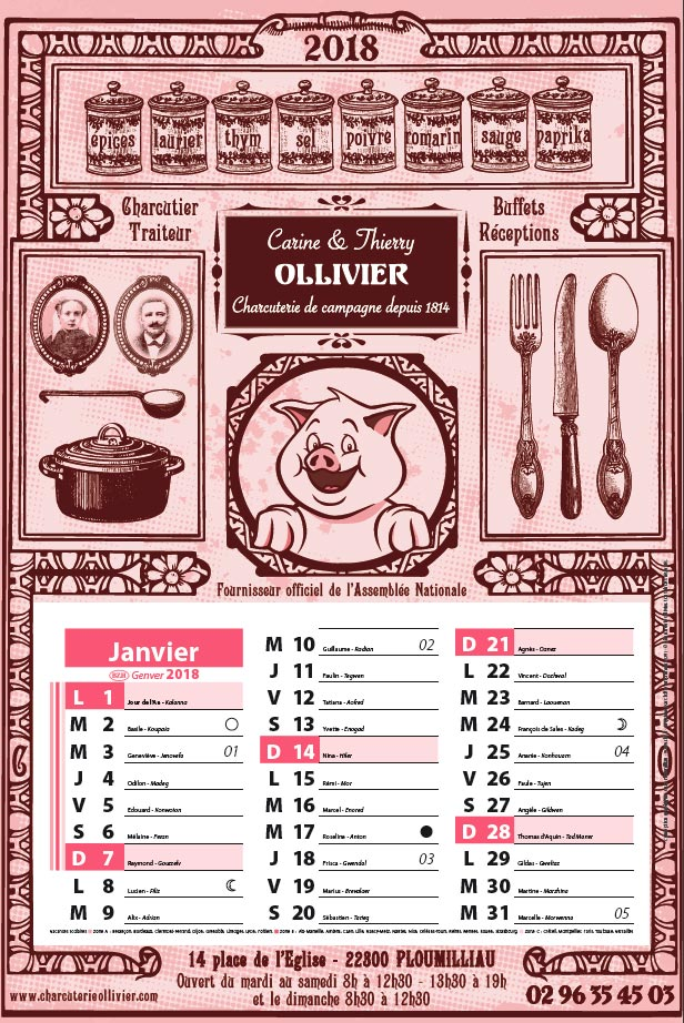 Charcuterie Ollivier calendrier 2018