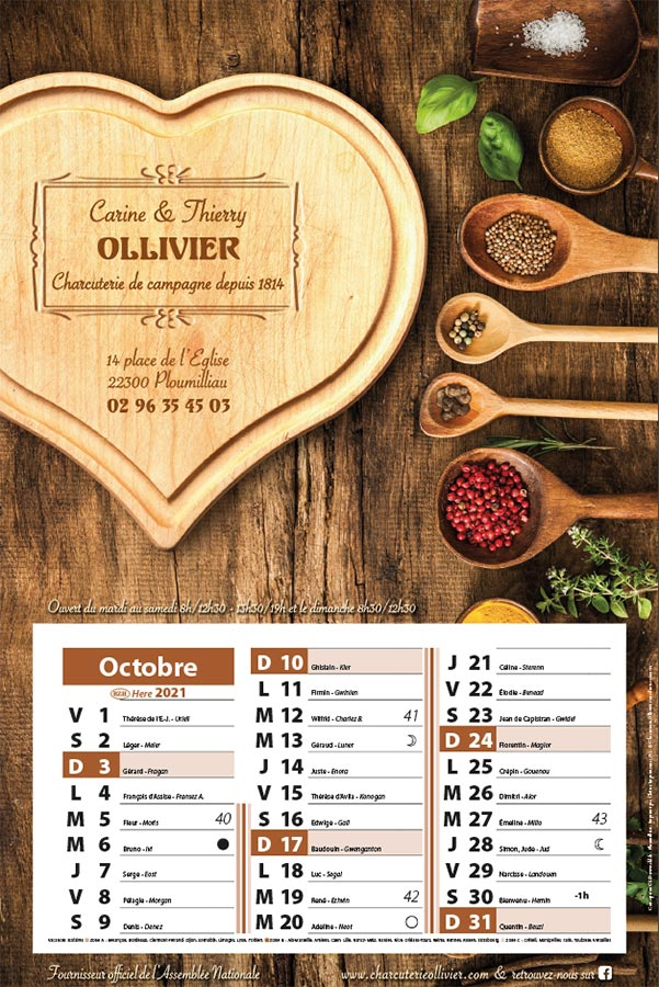 CHARCUTERIE OLLIVIER calendrier 2021
